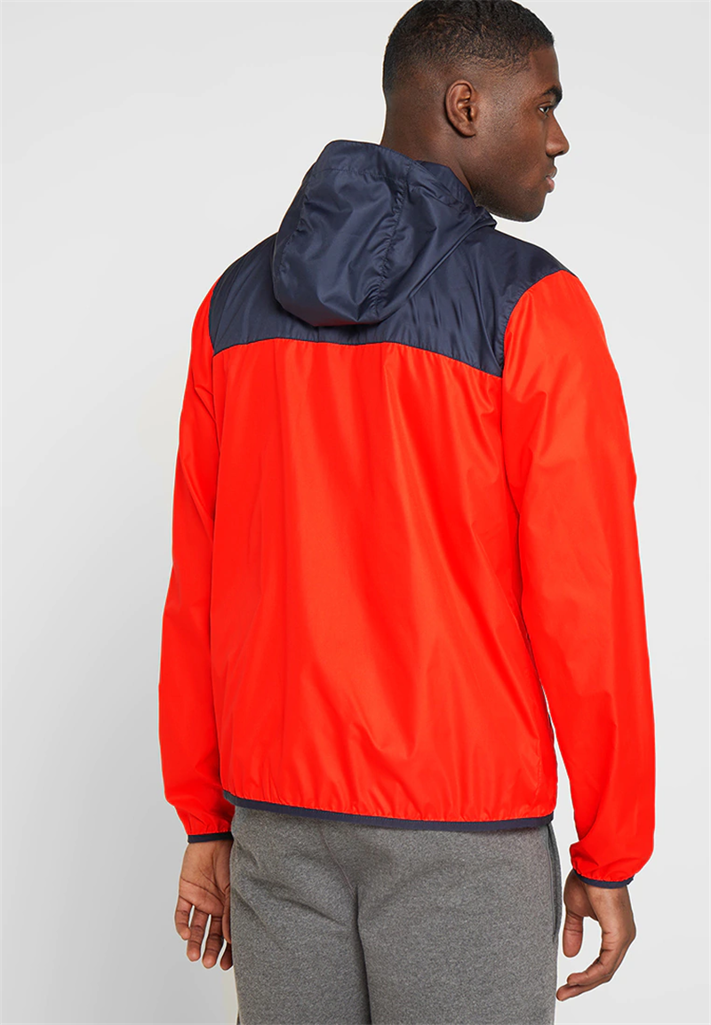 Rood navy waterdicht winddicht outdoor sport ademend custom zeefdruk 100 polyester hooded zipper mannen ski jas