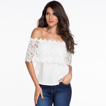 1cf4ad8ab67 white off shoulder boob tube backless lace spliced sexy chiffon T-shirt  blouse for ladies