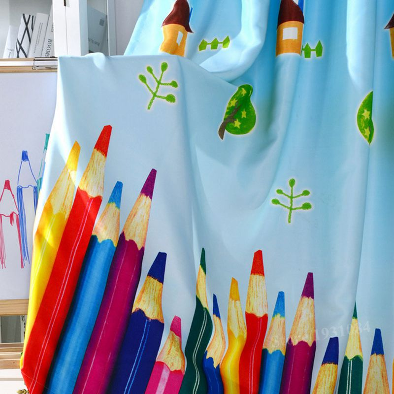 My First Room Toddler 3 Piece Room In A Box: 1Pcs Rainbow Pencil Baby Boy Blackout Curtains For