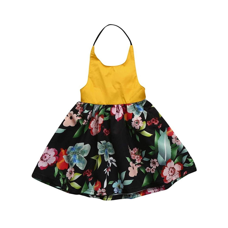 Memela Summer Children Dress,Infant Girls Plaid Print Bowknot Strap Backless Princess Dress Clothes