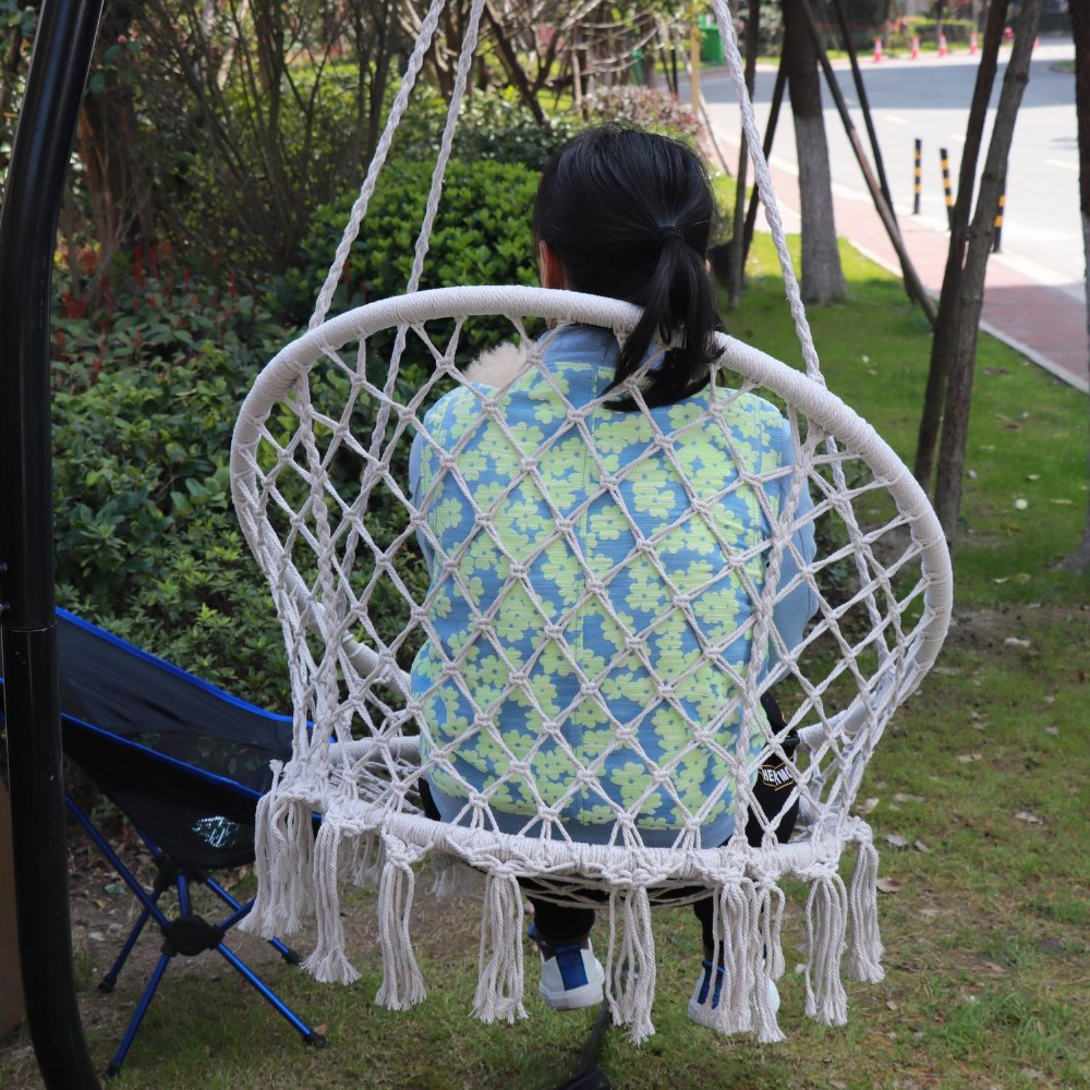 Yingmin Macrame hammock Chair with  Hanging Hardware Kits and Cushion