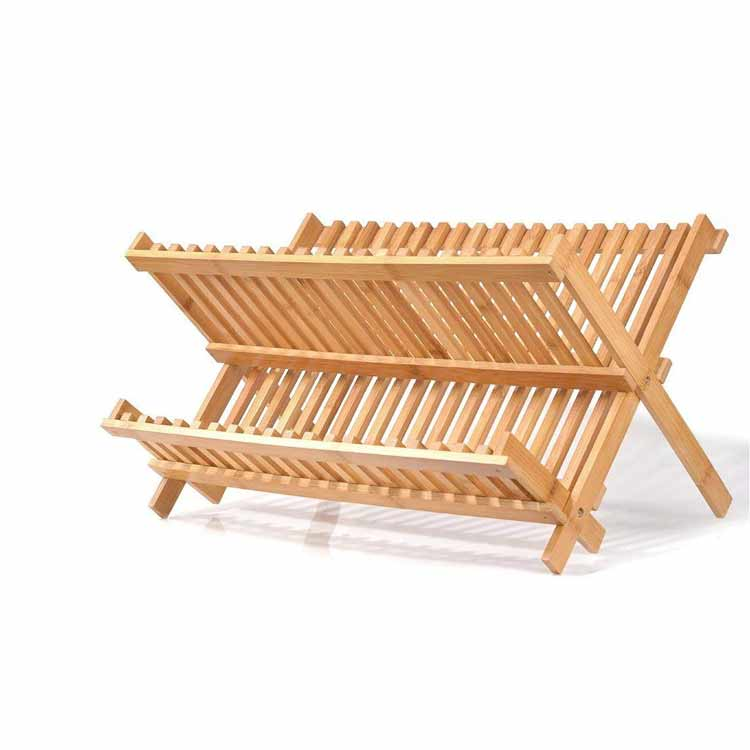 100% Natural Moso Bamboo Foldable Dish Rack Plate Rack Bamboo Dish Drying Rack 5