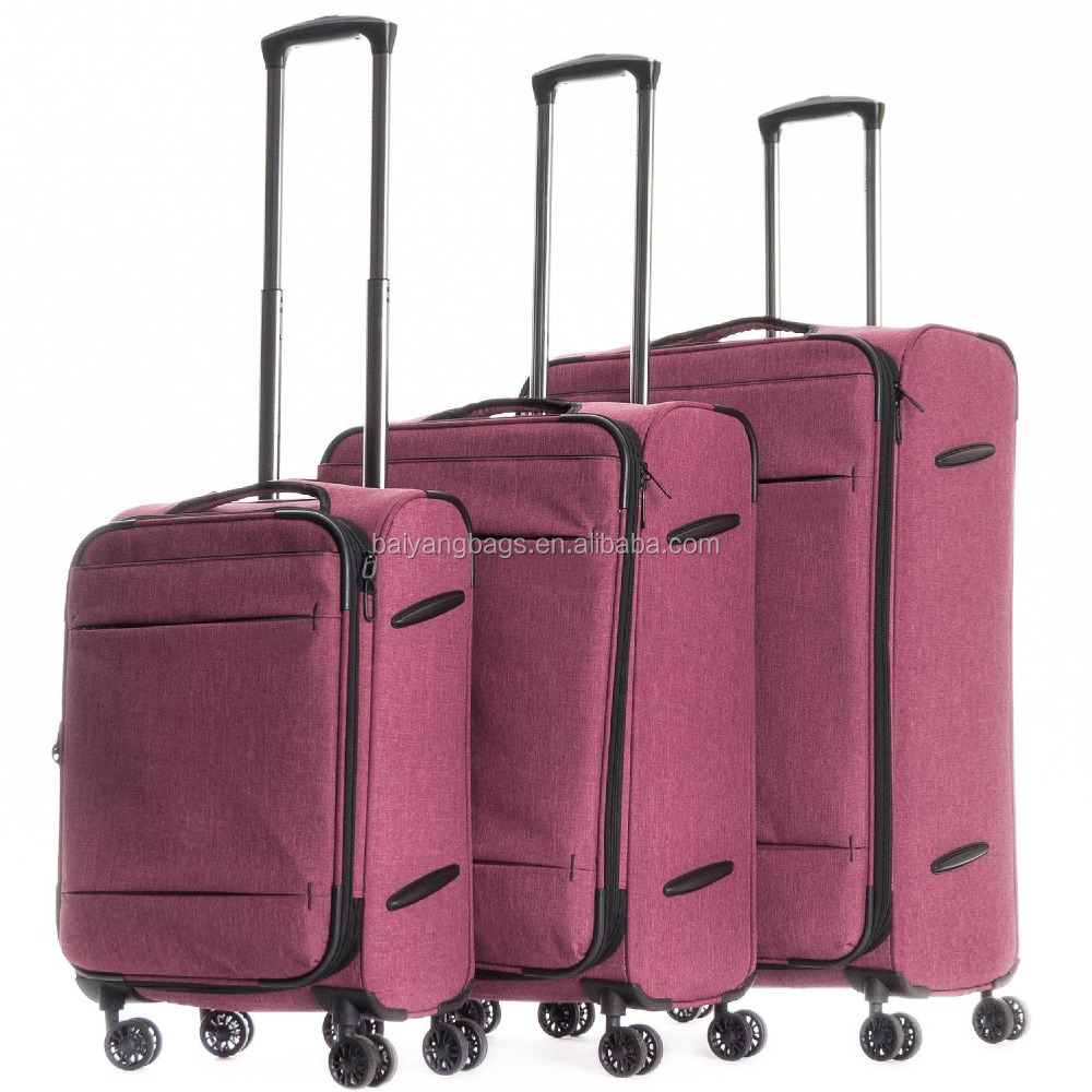 RED COLOR VINTAGE STYLE 3 PIECE TROLLEY LUGGAGE SET