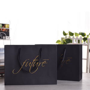 China Supplier Wholesale Custom Logo Black Cloth Jewelry Gift Shopping Bag Carrying Paper Bag with Gold Hot Stamping