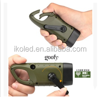 Popular new arrival solar hand crank mountaineering buckle flashlight,Small Portable Camping Torch