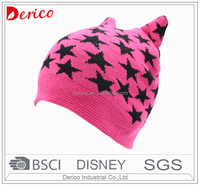 girl cute cat design fall winter knit hat