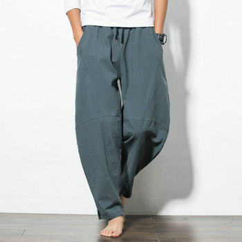 2019 Autumn Plus Size Hip Hop Harem Pants Men Casual Loose Trousers Drawstring Joggers Chinese Style Cotton Pants For Men