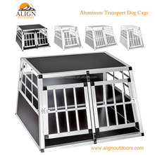 Aluminum Double Doors Dog Crate for Pet Transport Car Travel Cage Box