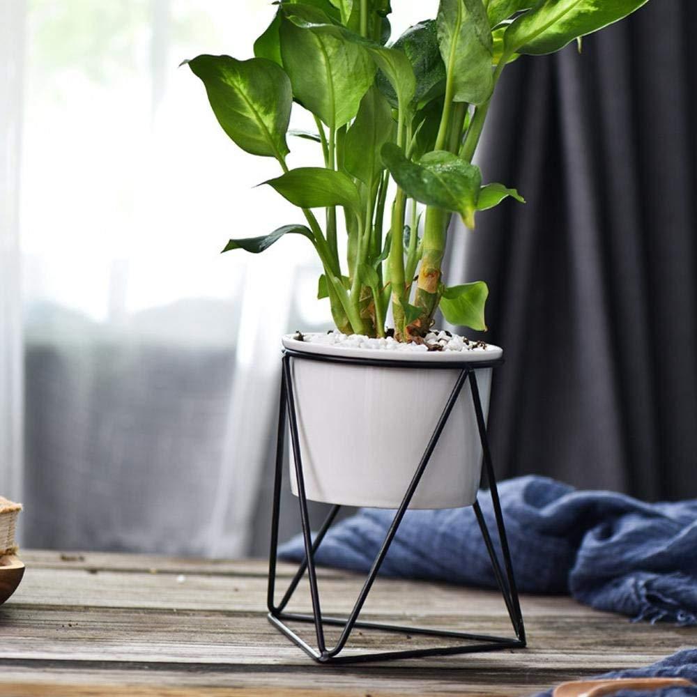 FOONEE Flower Pots Bulk, Flower Pots Indoor Hexagon Ceramic Planters with Golden Iron Frame, Pots for Succulent,Cactus