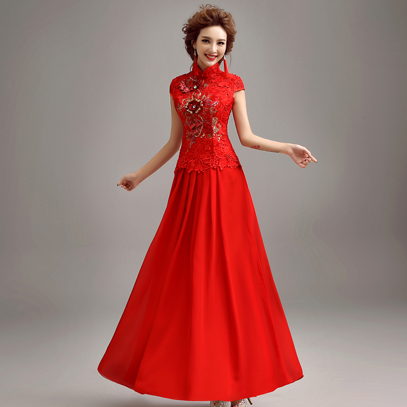 Qipao Wedding Gown: Vintage Cheongsam Qipao Chinese Traditional Dress Red Lace