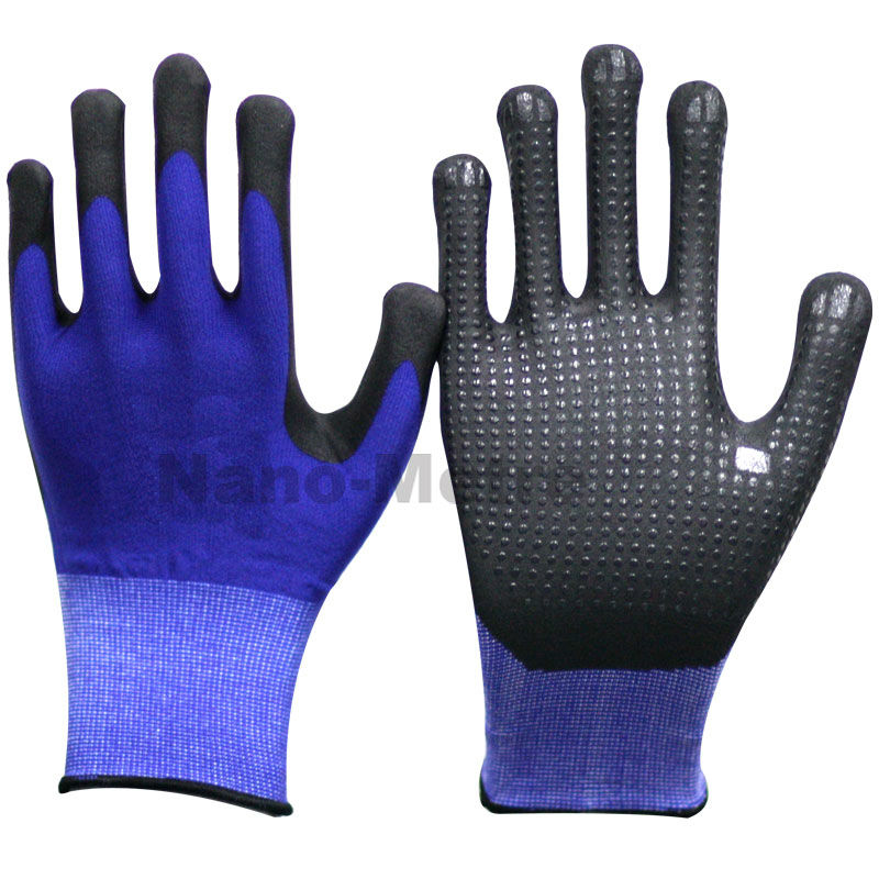 NMSAFETY daily glove navy blue nylon and spandex liner coated high-technology foam nitrile liner knit PVC dots grip gloves