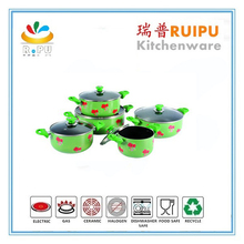 Hot Aluminum green 18.5cm non stick the frying pan large cooking pot with glass lid mini hot pot grill pancake cookware