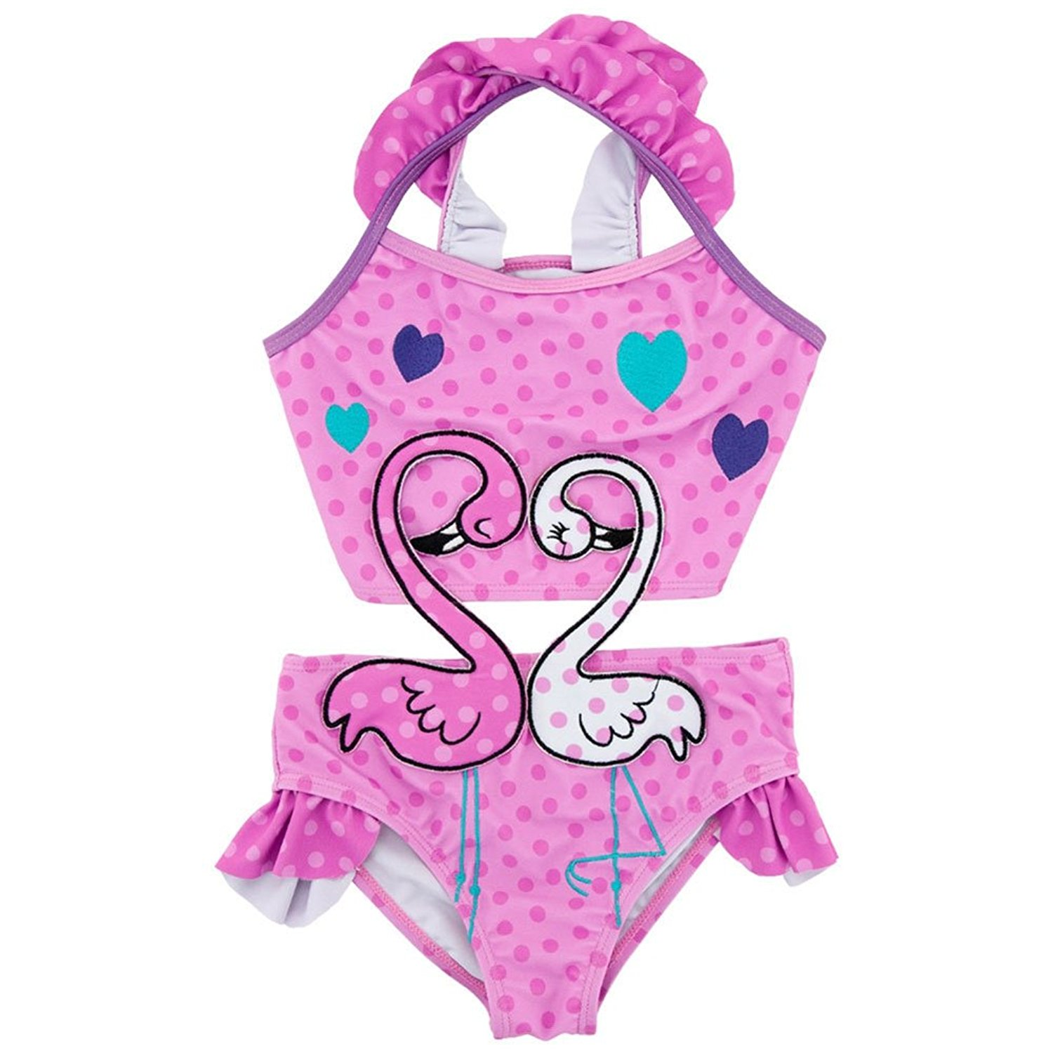 2ceb7236f5c30 Get Quotations · BERTERI One-Piece Cute Pink Dot Swans Swimsuits with  Swimming Cap Bathing Suits Swimwear Set