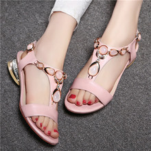 Large Size 9 10 Shoes Women Sandals Open Toe T-Strap Bohemian Beach Low Heels Female Summer Shoes Crystal Sandals Pink H9-0B