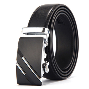 New double-sided genuine leather automatic buckles belt men business pants waist belt