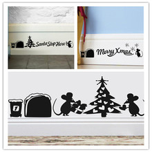 Lovely Mouse Hole Christmas Santa home decal wall sticker/ adesivo de parede for wedding decoration kitchen party decor ZY376