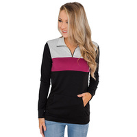 Wholesale New Arrival Long Sleeve Color Block Zip Front Pullover Women