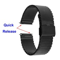 JUELONG Black Watchband Quick Release Watch Band Mesh Stainless Steel Strap Wrist Belt Bracelet