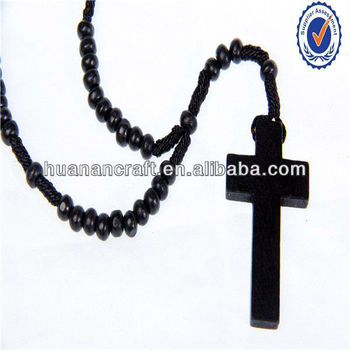 Religious holy wooden photo frames black rosary necklace