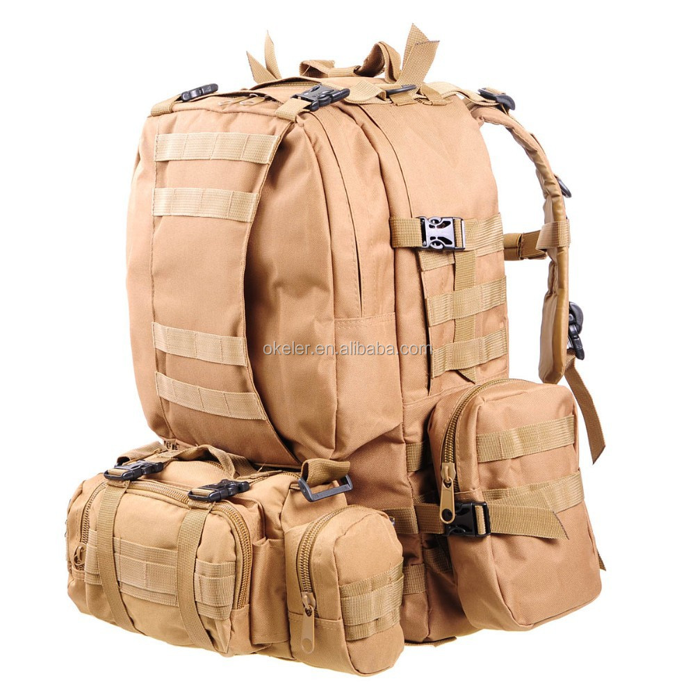Hot Sale 50L Tan Color Outdoor Combination Military Backpack, Durable Hiking Bags, Camping Backpack