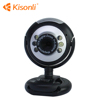 6 Lights USB 2.0 Webcam Free Software PC Camera with Mic for Laptop