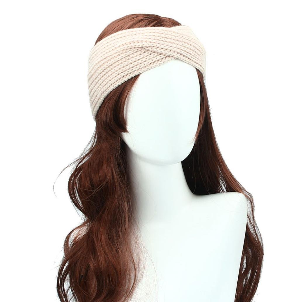 DEESEE(TM) Winter Women Bohemia Weaving Cross Headband Handmade Hairband (Beige)