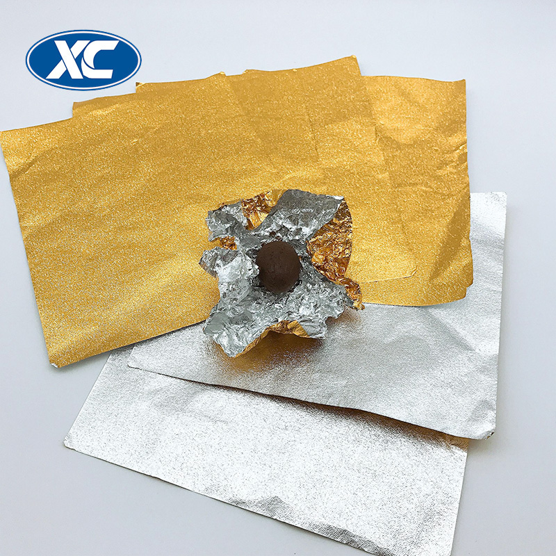 gold glitter lacquered heat sealing aluminium foil for chocolate wrapping
