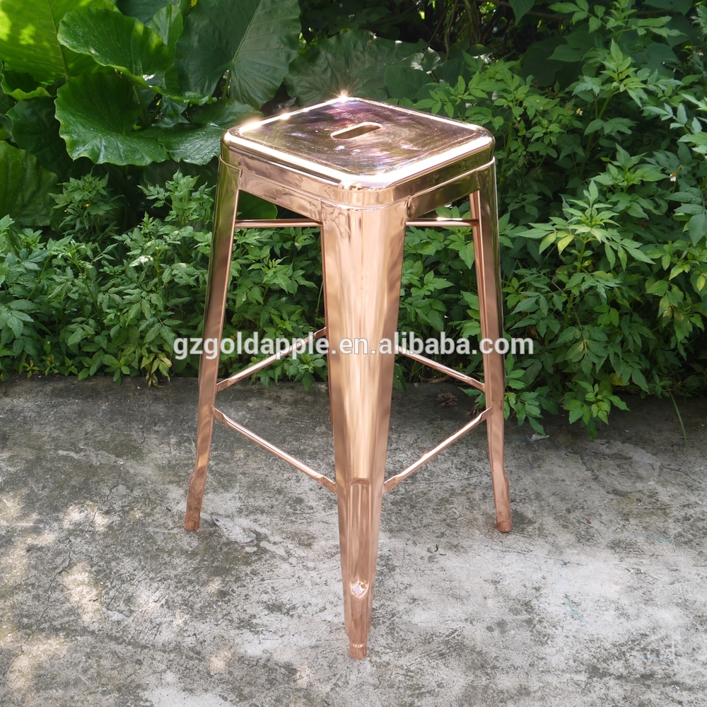 China industrial french style outdoor electroplate rose gold metal bar stool