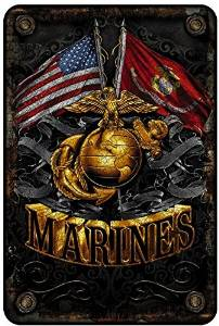 Marine Corps Wall Décor Signs, USMC Metal Sign (Double Flag Gold Globe) USMC Parking Sign & Marine Corps Man Cave Décor– 8x12 Metal Wall Art Décor – Marine Corps Gifts for Men or Women, Metal Bar Sign