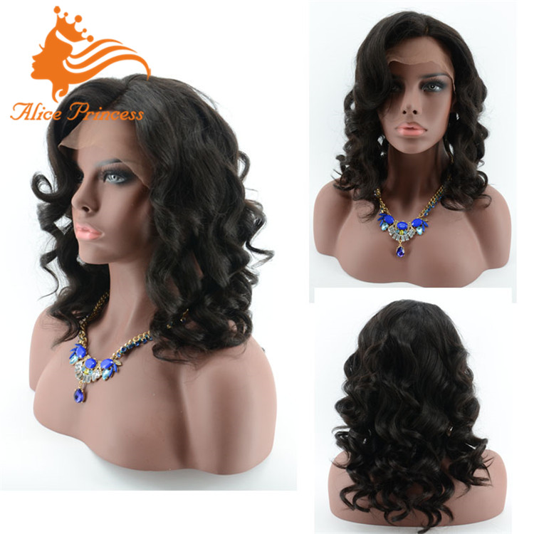 body wave full lace wig 130denisty human hair brazilian wigs with side bangs free ship by <strong>DHL</strong>
