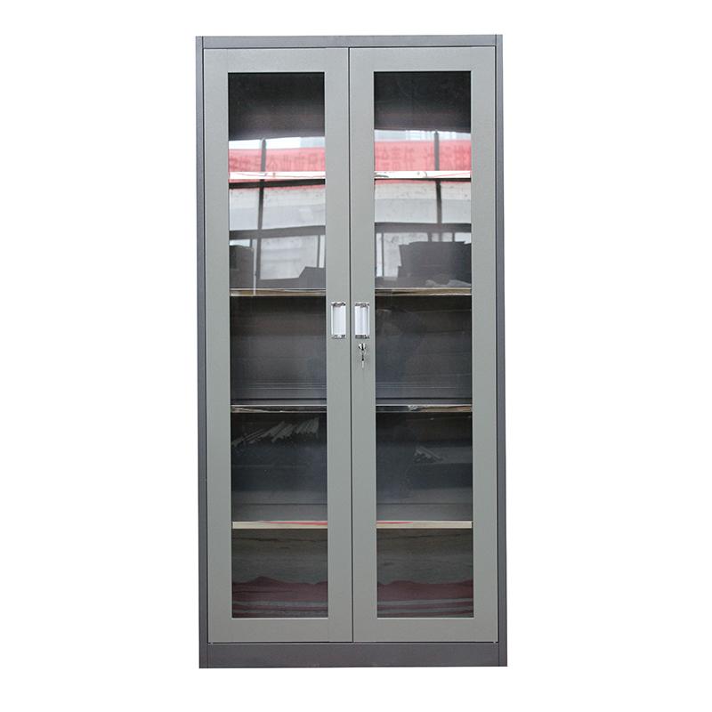 Kitchen metal food storage cabinet with glass sliding door
