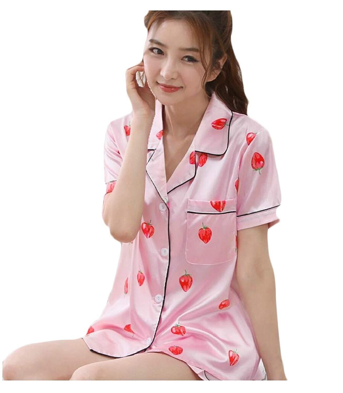 e7eeeb1f4 Get Quotations · HTOOHTOOH Women s Pajama Print Floral Shorts Sleepwear Two  Piece Pajama Set