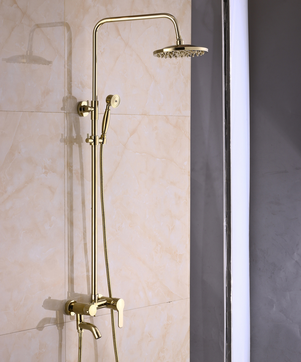 Wall Mount Bathroom Rainfall Shower Faucet System Gold