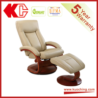 Hot Sale Genuine Leather Painted Wooden Recliner With Ottoman Chair