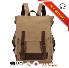 handmade leather and canvas backpack bags man travel bag laptop school bag