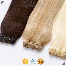 Human remy hair weft weave extension use for on year