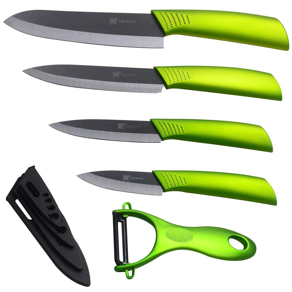 XYJ Ceramic Knife Set 3 4 5 6 Inch Black Blade Green Handle Zirconium Kitchen Knife