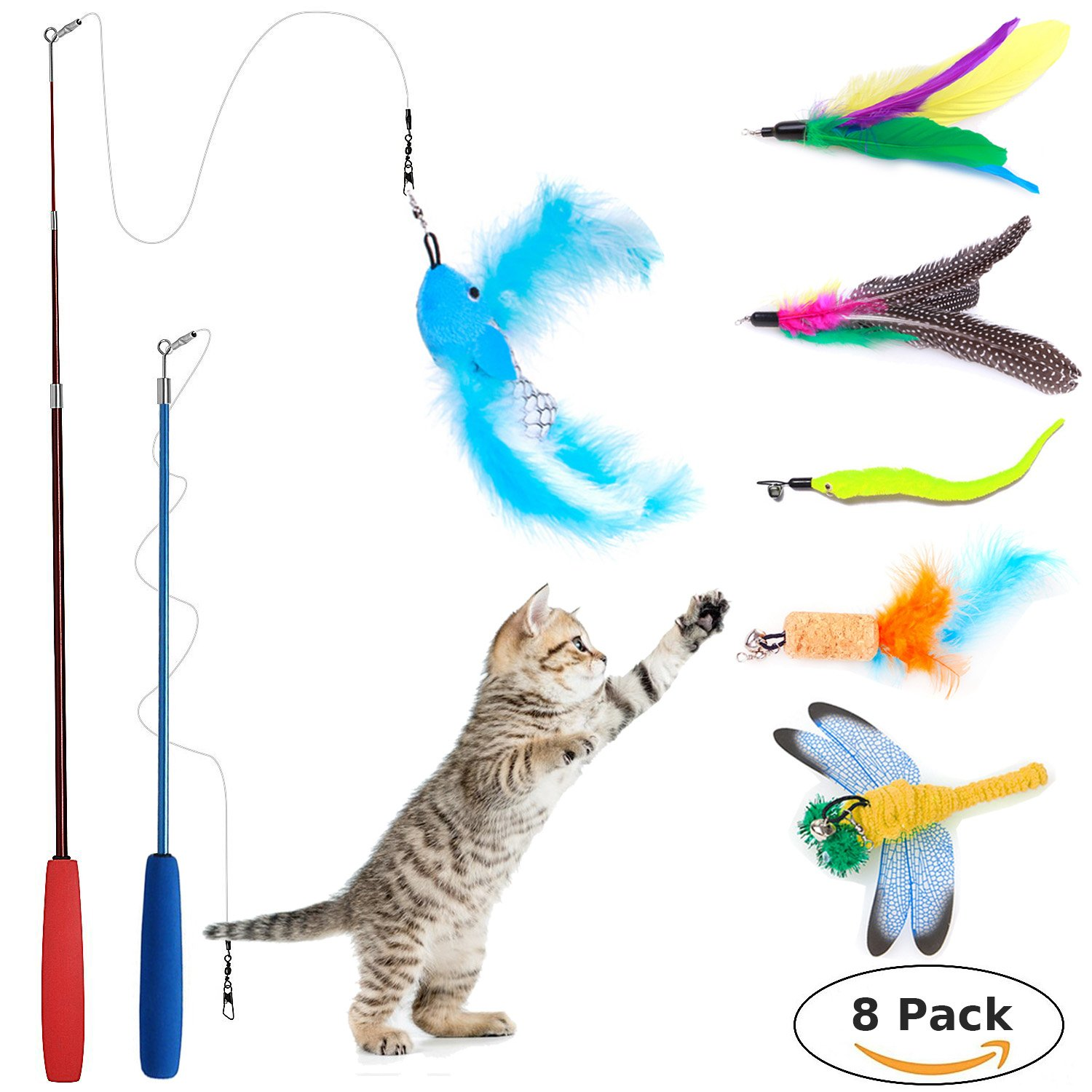 8 Pcs Cat Feather Toy, Cat Toy Wand, Teaser Wand Toy Set, Wineecy Cat Toys Interactive Retractable Wand Rod with Assorted Feather Toy for Exercising Kitten or Cat