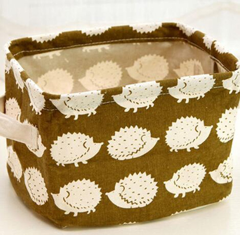 WEISHY Cotton And Linen With Handle Desktop Debris Basket Storage Box Fabric Storage Baskets-S (hedgehogs)
