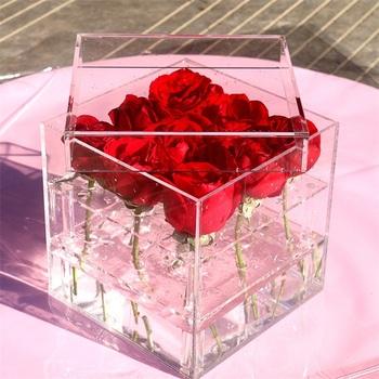 Pesta Pernikahan Dekorasi Umur Panjang Mawar Merah Muda Dengan Kotak