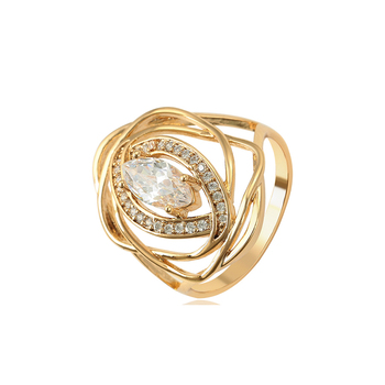 15776 xuping 18K gold color spiral big stone hollow synthetic CZ women ring