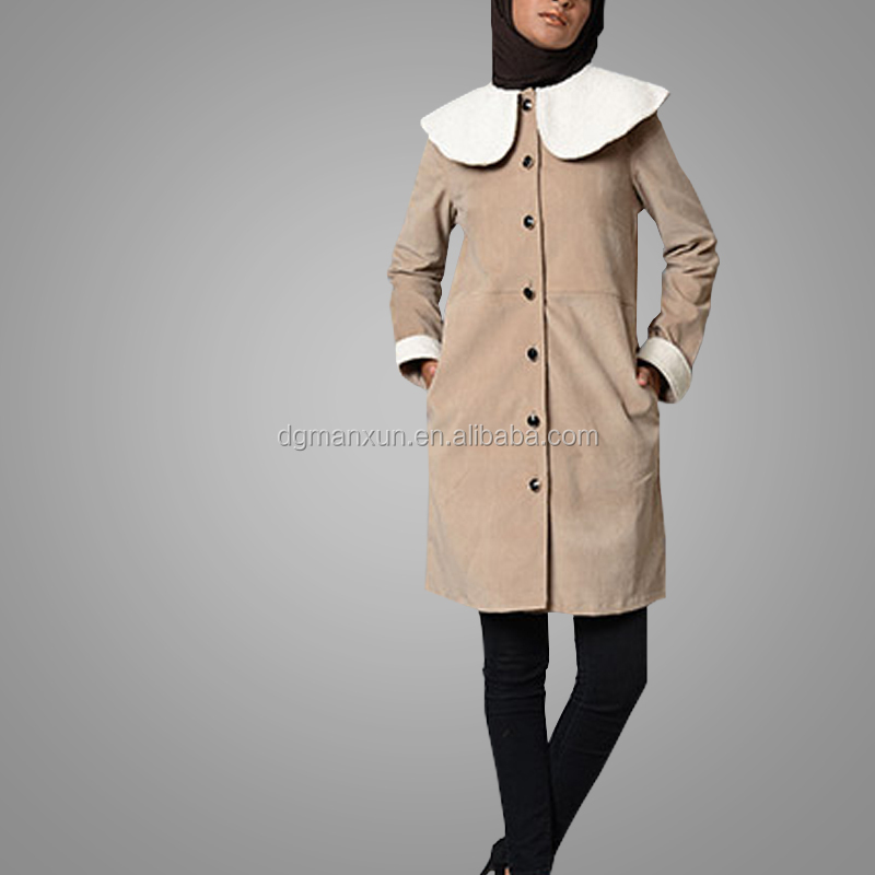 Muslim Fashion Style Sand Petal Cotton Jacket Daily Hoodie Long Sleeve Coat Islamic Clothing