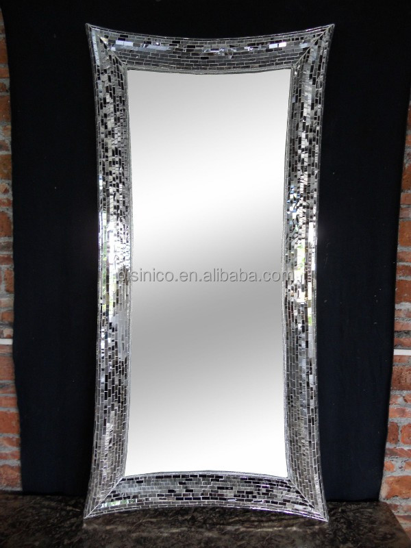 full length wall mirrors. Rectangle Crackle Handmade Full Length Design Wall Mirror,Dressing Mirror,Frame Mosaic Glass Mirrors In Black And Siver - Buy Mounted