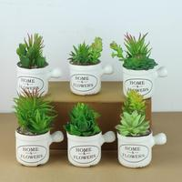 Mini Artificial Plants Plastic Green Grass Cactus with Special Pot Design for Home Decor