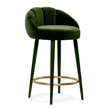 Emerald Cotton Velvet Counter/bar Stool With Gloss Lacquer Legs And Brushed  Brass Ring Restaurant