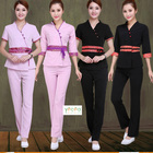 High quality Spring Autumn Cotton/polyester breathable sexy women saloons Spa workwear Dress suit Uniform customize logo