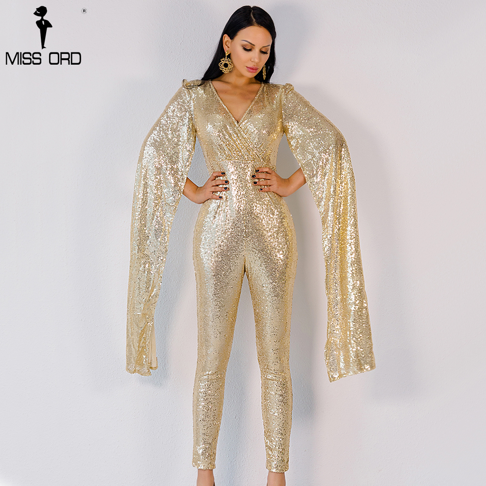 dceae9dec9bb Free Shipping Missord 2015 Sexy deep v Angel wings gold color sequin ...