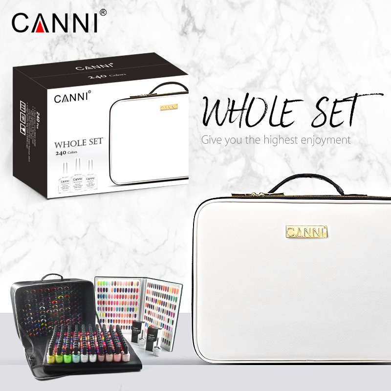 Alibaba.com / CANNI 240 color whole set enamel nail polish gel kit high quality nail art soak off led uv nail gel polish base topcoat with bag