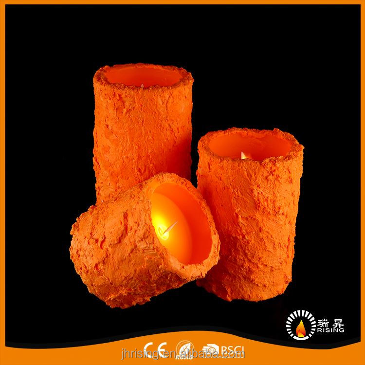 RISING custom scent indoor decorations candles promotion pillar orange led candle with wax