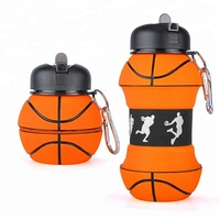 Custom Basketball Shape Silicone Sport Collapsible Foldable Water Bottle